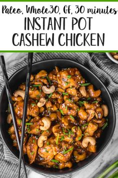 This instant pot cashew chicken tastes like the familiar Chinese takeout we all love, but in a better-for-you, Paleo, gluten-free version that only takes 30 minutes. No more waiting for your delivery full of MSG! This instant pot paleo ca Whole 30 Chicken Recipes, Whole 30 Recipes, Whole Food Recipes, Diet Recipes, Healthy Recipes, Whole 30 Crockpot Recipes, Whole Food Diet, Instapot Recipes Paleo, Whole 30 Meals
