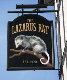 "liartownusa: "" British Pub Sign The Lazarus Rat, Surrey "" Pub Signs, Beer Signs, House Signs, Metal Signage, Shop Signage, Cafe Sign, Cafe Bar, Storefront Signs, British Pub"