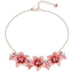 Kate Spade New York Crystal Floral Statement Necklace ($148) ❤ liked on Polyvore featuring jewelry, necklaces, pink, crystal statement necklace, bib statement necklaces, lobster clasp necklace, rose necklace and crystal jewellery