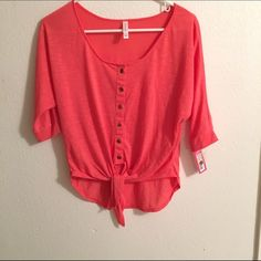 XHilaration Summer Top Peach Peachy pink summer top. Super cute and fresh. Brand new with tags! Make an offer! Xhilaration Tops Tees - Short Sleeve