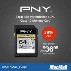 Save 38% on this #PNY 64GB memory card. #DailyDeal