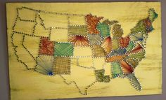 United States String Art - I saw a bunch of individual states done this way, but never all of the states. We're keeping track of the states we've visited since our marriage and thought this was a cool way to show it. x Willium Fair Project String Art Cute Crafts, Crafts To Do, Arts And Crafts, Nail String Art, String Crafts, Do It Yourself Quotes, String Art Patterns, Creation Deco, Ideias Diy