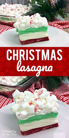 Christmas Lasagna - a yummy chocolate cookie dessert with pudding and whipped cream. #christmas