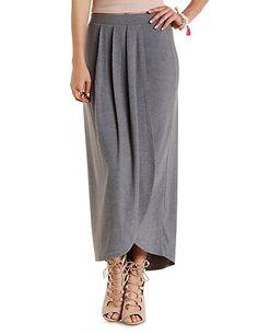 Pleated Tulip Slit Maxi Skirt: Charlotte Russe #maxiskirt #spring