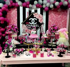 Birthday Party For Teens, 35th Birthday, Fabulous Birthday, Sweet 16 Birthday, Birthday Ideas, Sweet 16 Party Decorations, Birthday Party Decorations, Chanel Birthday Cake, Chanel Baby Shower