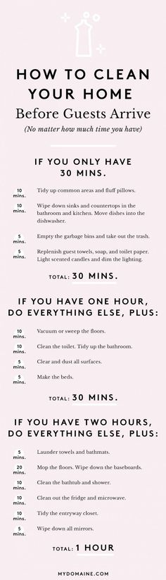 Save this to see how you can clean your house in under 30 minutes before guests arrive.