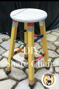 Looking for Share Chair ideas to spruce up your classroom decor? Check out this awesome DIY painted stool makeover. Schools often have the most boring furniture. Make learning fun for any student by creating this pencil leg stool. Children love to sit an Classroom Setting, Classroom Setup, Classroom Design, Kindergarten Classroom, School Classroom, Classroom Organization, Future Classroom, Elementary Classroom Themes, Apple Classroom Decorations