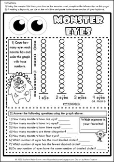 graphing monster eyes - could be used as a CCSS activity with a geometry activity where students make monsters from shapes and write a narrative about their monster