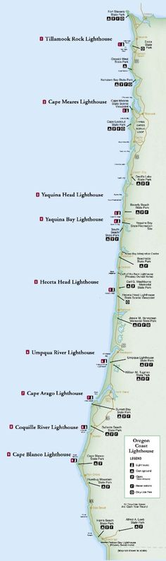 #oregon coast #lighthouse map http://www.romantic-oregon-coast.com/lighthouses-oregon-coast.html  Summer Vacation Maps...