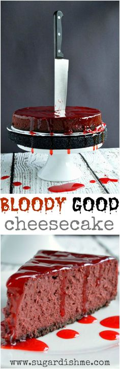 This Bloody Good Halloween Cheesecake recipe is deliciously spooky fun! red velvet cheesecake is topped with homemade fake blood gel frosting