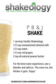 PB & J Shakeology Recipe • 21 Day Fix containers: 1 Red, 1/4 Yellow, 1/2 Purple, 2 Teaspoon • A tasty vanilla Shakeology recipe! • 21 Day Fix Approved Recipes #21dayfixapproved #21dayfixrecipe