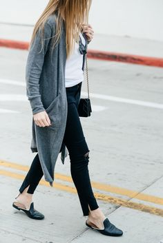 ripped denim and long cardigan // neutral color palette // black leather slides Simple Outfits, Trendy Outfits, Cute Outfits, Cardigan Fashion, Ripped Denim, College Outfits, Long Cardigan, Her Style, Autumn Fashion