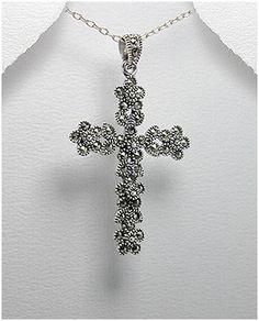 Cross Silver Marcasite Pendant - DALIA