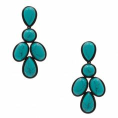 Brinco pedras turquesa - azul