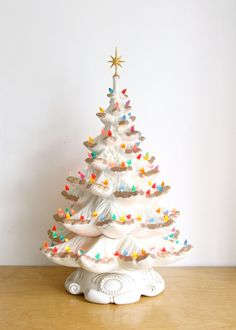 Vintage white ceramic lighted Christmas tree