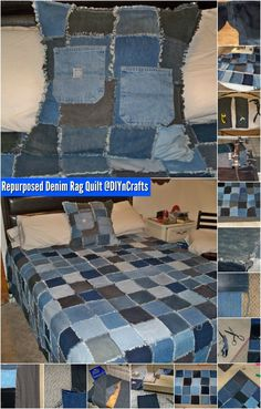 Brilliant Upcycling Project: How to Make a Repurposed Denim Rag Quilt {Easy Project} Denim Crafts, Jean Crafts, Quilting 101, Rag Quilt, Easy Quilts, Easy Sewing Projects, Bedspread, Bedding, Repurposed