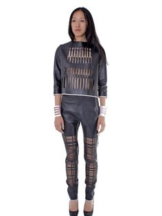 Leather Laser Cut Trousers | NOT JUST A LABEL