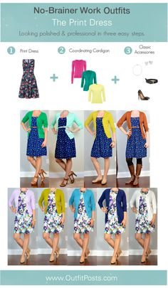 "outfit post: no-brainer work outfits ""The Print Dress Formula"" 