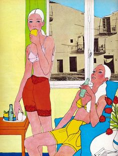 illustration by Antonio Lopez  for Elle Magazine, 1967; like the Sunday Times' he adds collage.