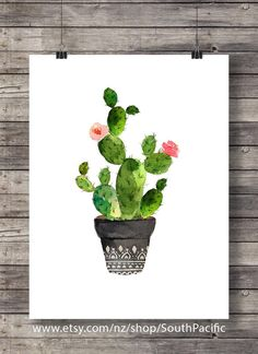 Cacti art print | Watercolor cactus | Hand painted watercolor cactus | cosy decor Printable wall art