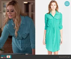 Ali's turquoise shirtdress on Pretty Little Liars.  Outfit Details: https://wornontv.net/55368/ #PLL