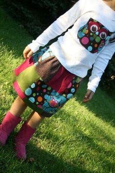 Bright Owls Corduroy Patchwork Twirl Skirt + Owl Shirt by lylabugcreations