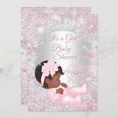 Invitación Princesa Baby Shower rosada de origen étnico inver