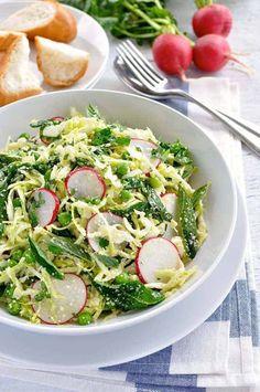 A unique elegant Pea Cabbage Parmesan Mint Salad that's easy to make. Copycat from a top Australian Restaurant, Mr Wolf. Pea Recipes, Salad Recipes, Cooking Recipes, Healthy Recipes, Vegetarian Recipes, Mint Salad, Pea Salad, Radish Salad, Karen Martini Recipes