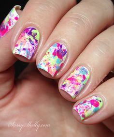 Neon Paint Splatter - easy nail art with  the Cirque Vice Collection  |  Sassy Shelly