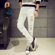 >> Click to Buy << 2016 Spring New Arrival White Ripped Slim Fit Jeans/Punk Style Biker Jeans For Men/High Quality Denim Joggers Large Plus Size 42 #Affiliate