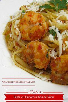 Aceasta reteta de paste cu creveti si sos de rosii este delicioasa, usor de preparat si se poate servi oricand, la pranz sau la cina. Seafood, Spaghetti, Ethnic Recipes, Sea Food, Noodle, Seafood Dishes