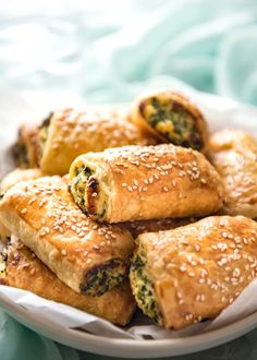 These Spinach and Ricotta Rolls are fantastic for parties and snacking! Great for making ahead and freezing, the filling is moist, cheesy and juicy.