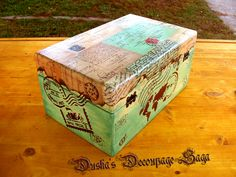 Vintage Decoupage Boxes Clocks Pictures Home Decor by DuskaDecoupageSaga Decoupage Box, Vintage Box, Saga, Decorative Boxes, Etsy Seller, Clock, Create, Home Decor, Decorated Boxes