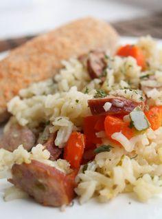 Smokey Kielbasa, rice and veggies. Perfect 30 minute skillet dinner. Weeknight Dinner ~ http://reallifedinner.com
