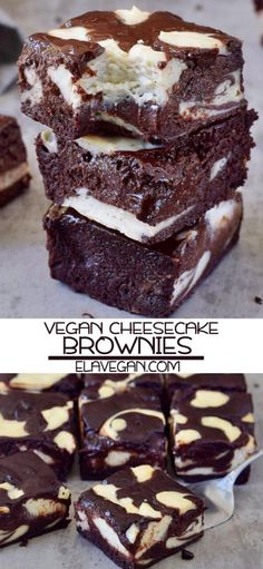 These vegan cheesecake brownies are moist chocolatey and fudgy. The recipe is plant-based (egg-free dairy-free) gluten-free yummy and easy to make! The post Vegan Cheesecake Brownies appeared first on Win Dessert. No Dairy Recipes, Vegan Dessert Recipes, Vegan Sweets, Brownie Recipes, Whole Food Recipes, Recipes Dinner, Best Vegan Desserts, Vegan Food, Cheesecake Brownies
