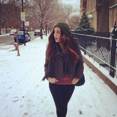 Bex on the street-- it's always cold where she lives