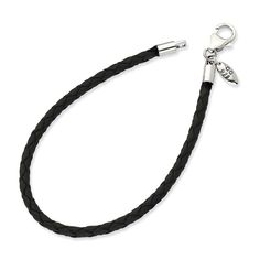 Sterling Silver Reflections Black Leather Bead Bracelet- 7.5inches. Solid 925 Sterling Silver. Dimensions: Chain Length:7.5in   Chain Width:3mm. Certficate of Authenticity Card Included.