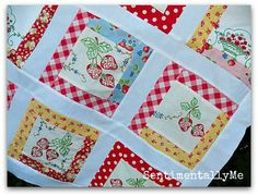 Vintage Strawberries with Pam Kitty Morning Fabrics from SentimentallyMe