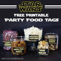 Star Wars Party Ideas and FREEBIES Add to your snacks these Printable Star Wars Food Labels and Light Sabers, Jedis, Droids and more. For Star Wars lover, we have put together a collection of exciting Star Wars printables, foods and other Star Wars party Printable Star Wars, Printable Tags, Free Printables, Party Printables, Freebies Printable, Food Tags, Food Labels, Birthday Star, Birthday Parties