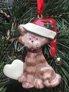 personalized cat ornament, cat's name ornament, kitty ornament, cat Christmas ornament, customized heart ornament, cat lover gift, santa cat by Bedotted on Etsy