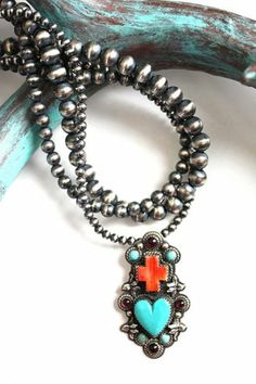 Jewelry :: Necklace :: VINTAGE CROSS HEART PENDANT WITH THREE STRAND NAVAJO PEARL NECKLACE - Native American Jewelry|Ladies Western Wear|Dou...