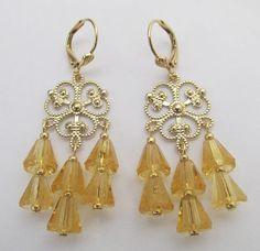 Filigree Chandelier Earrings  Light Topaz
