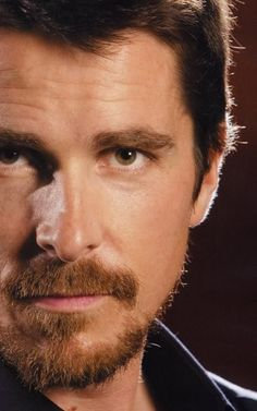 Christian Bale, finally one that focuses on his eyes. Christian Bale, Moustaches, Hollywood Actor, Hollywood Celebrities, Chris Bale, Batman, British Actors, American Actors, Celebrity Portraits