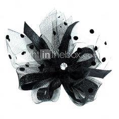 [USD $ 6.78] Gorgeous Tulle Wedding Bridal With Rhinestone Flower Headpiece Black