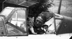 Franz von Werra and Simba lion cub in his Me109