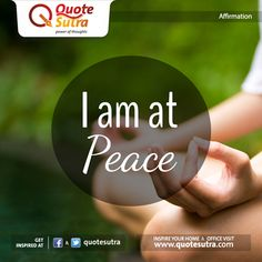 Be at peace with this simple ‪#‎affirmation‬. Just affirm 3-5 times and feel the difference. :)