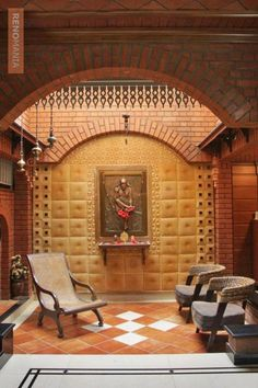Beautiful Puja Room Photos in India Mandir Design, Pooja Room Design, Chen, Home Temple, Temple Room, India House, Indian House Plans, Courtyard House Plans, Magic Garden