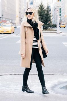 Winter outfit ideas from bloggers we love, including Damsel in Dior's camel coat and black skinnies