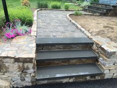 Step with little brick walkway