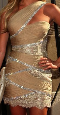 beige and silver dress